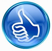 stock photo of thumbs-up  - thumb up icon blue approval Hand Gesture isolated on white background - JPG