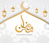 Ramadan Kareem Islamic Design Mosque Dome And Crescent Moon With Arabic Pattern And Calligraphy poster