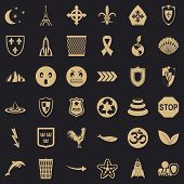 Nice Emblem Icons Set. Simple Style Of 36 Nice Emblem Vector Icons For Web For Any Design poster