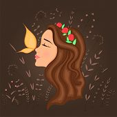 Gift Postcard With Cartoon Beautiful Girl In Profile With Wreath On Head And Butterfly On Nose. Deco poster