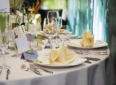 stock photo of catering service  - elegant table setting for wedding - JPG