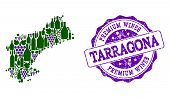 Vector Collage Of Grape Wine Map Of Tarragona Province And Purple Grunge Stamp For Premium Wines Awa poster