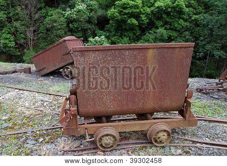 antiguo vagón de ferrocarril minero