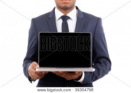 African American business man holding his laptop - isolated over a white background