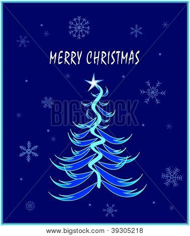 Blue and White Christmas Card