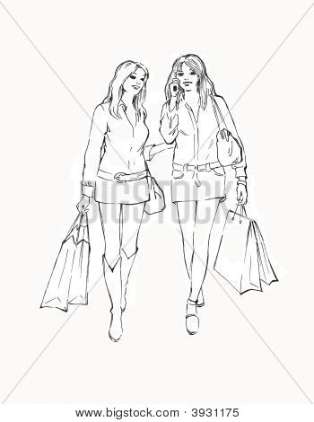 Two  Girls In The Store