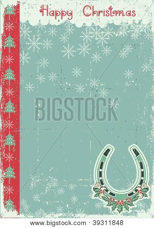 Vintage Christmas Card On Old Paper Background With Lucky Horseshoe