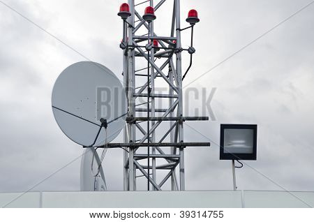 Antenna And Red Warning Lights