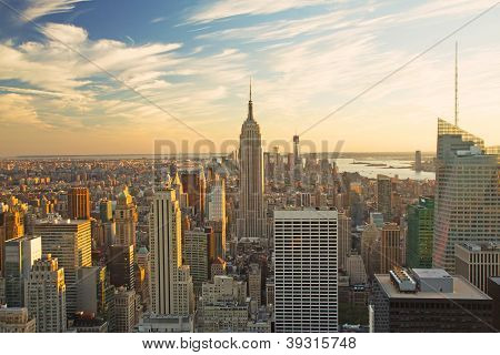 View Of Manhattan In Sunset Light