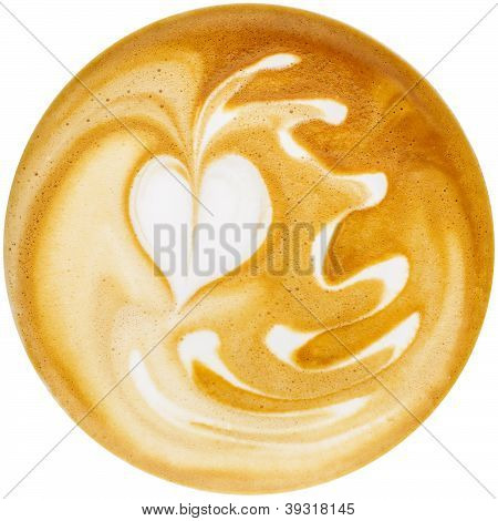 Latte Art, Coffee In White Background