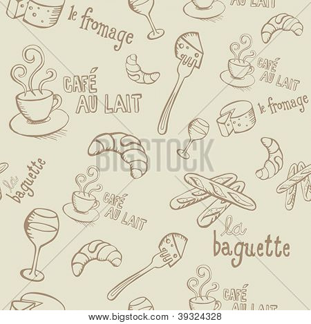 Seamless pattern with french food