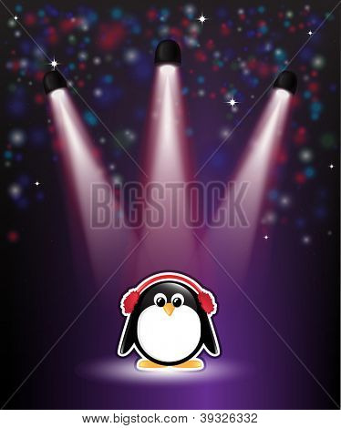 A cute cartoon penguin in earmuffs, with winter theme background of snow and stars. EPS10 vector format