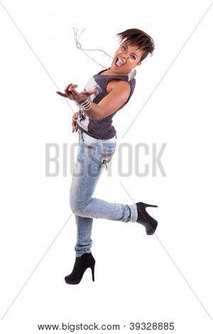 Beautiful  African American Woman Playing Air Guitar