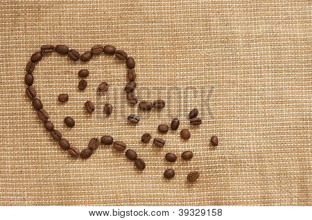 Love symbol made of coffee