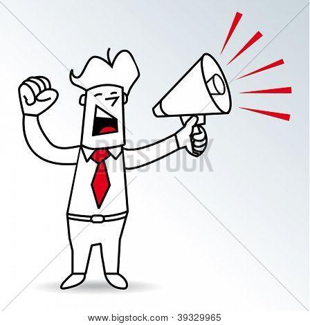 Hombre del megáfono. un empresario gritando en un megáfono
