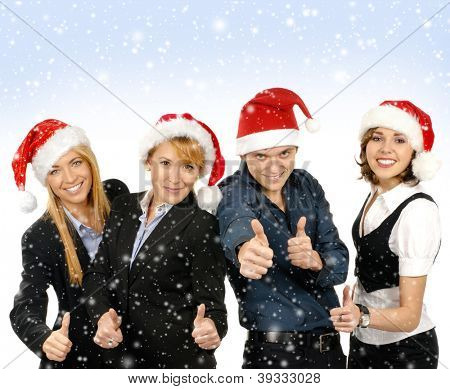 Young attractive business people in Christmas style