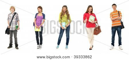 Group of smiling teenagers staying together and looking at camera isolated on white