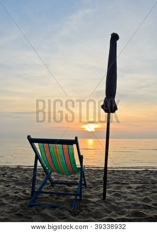 Colorful Beach Chair In Sunrise