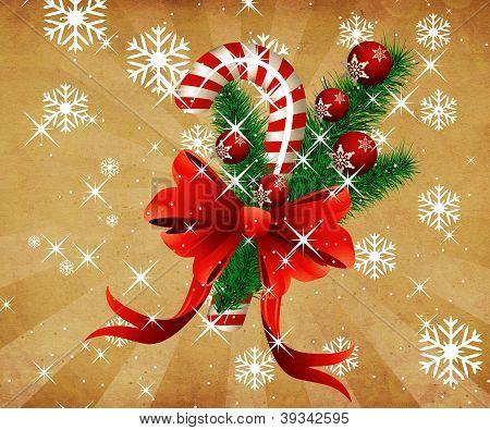 Grunge Christmas Candy Cane Background