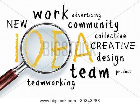 Idee Konzept. Wort-collage