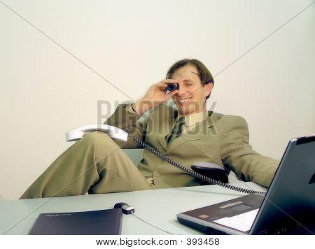 Businessman Looking Tube