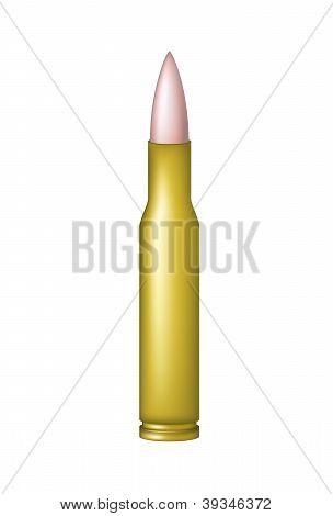 Copper bullet in golden cartridge
