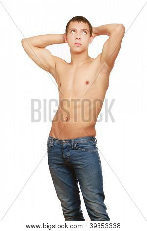 Strong man with a helathy body isolated over white