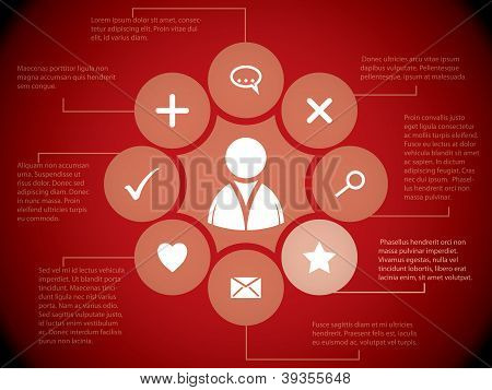 Social Media Elements On Red Background