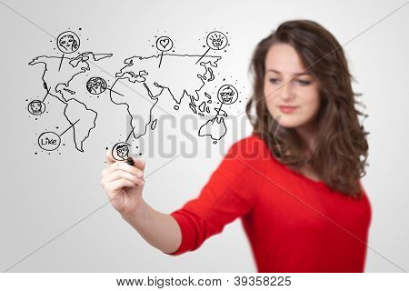 Young woman drawing a social map on white whiteboard