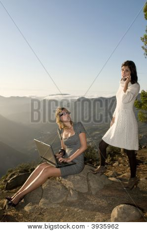 Women Working With Portatil Laptop In The Mountain