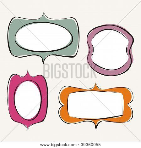 Set of doodle colorful vector frames