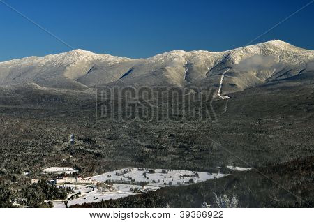 View to Mount Washington in New Hampshire from summit of Bretton woods ski area