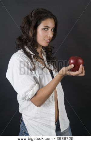 Woman With Apple In Temptation Position