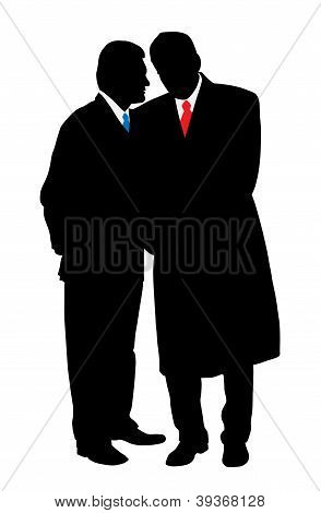 Two Businessmen Discreet Conversation, Telling A Secret