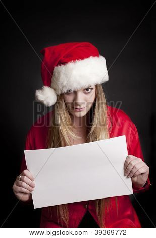 Pretty Girl Not Happy About Christnas Holding Blank Sign