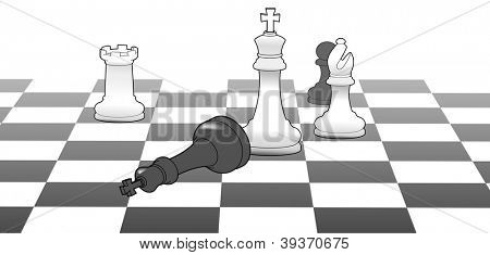 White chess king defeat black in strategy game win