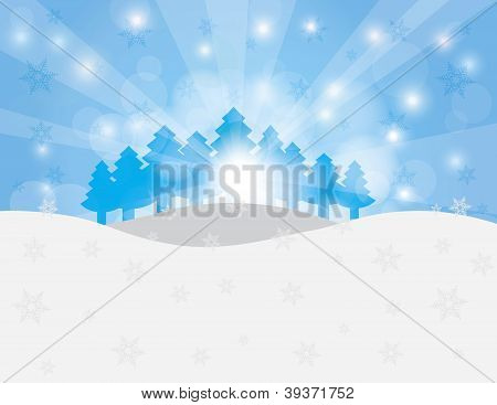 Christmas Trees In Snow Winter Scene Illustration
