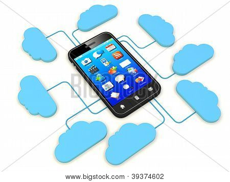 Smartphone Connected To Cloud Server.