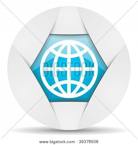 earth round blue web icon on white background