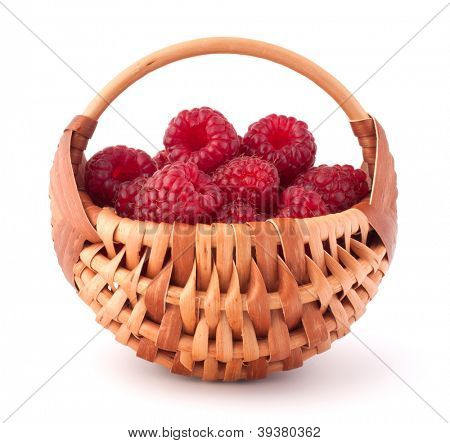 Ripe raspberries in basket isolated on white background cutout