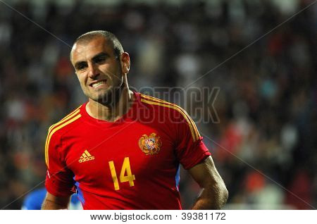 YEREVAN - OCT. 12: Yura Movsisyan of Armenian National Team during the match Armenia-Italy 1:3 2014 FIFA World Cup qualification round October 12, 2012, Hrazdan stadium, Yerevan, Armenia