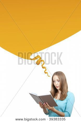 Young woman with book and speech bubble