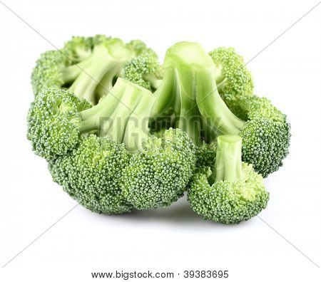 Fresh brocolli on a white background