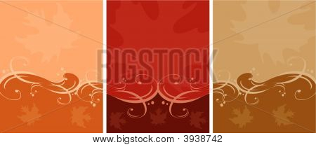 Beautiful Vector Banners with Flourishes and Leaves for Fall