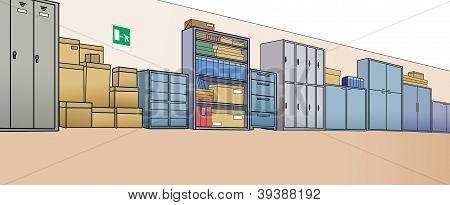 shelves office in corridor