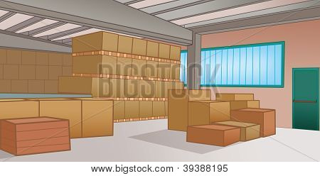 warehouse with cardboard boxes