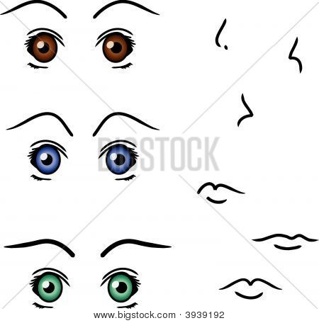 Vector Set Of Anime Eyes, Noses, And Mouths