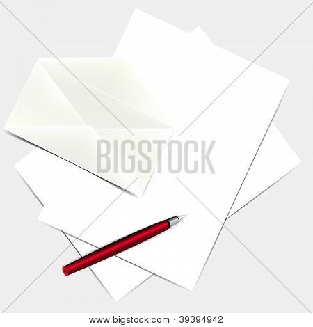 Letter, envelope and pen