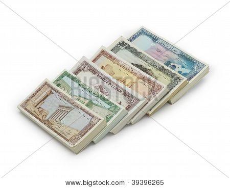 Old Lebanese Money stack isolated on white background