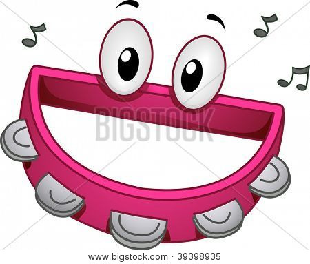 Mascot Illustration of a Tambourine Smiling Happily